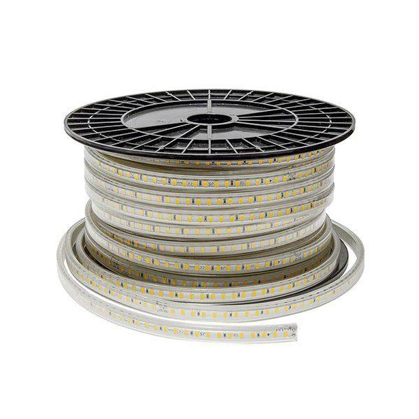 Bandeau de LED 220V 4200°K 10w/m lumineuse, protégée contre les projections d'eau. Sur bande flexible pour un éclairage décoratif.